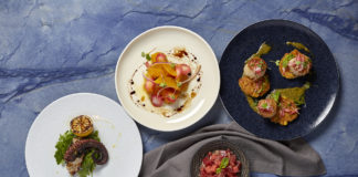 Venice-magazine-Conrad-fort-lauderdale-terra-mare-grilled octopus-beet-salad-tuna-crudo-scallops-poblano-peppers