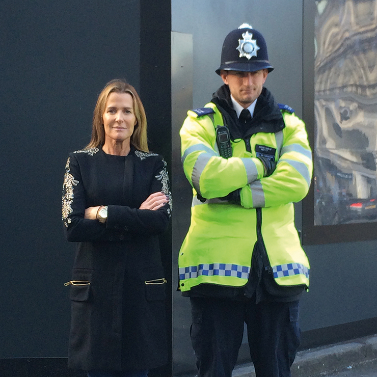 India Hicks poses with a London police officer while visiting her homeland.