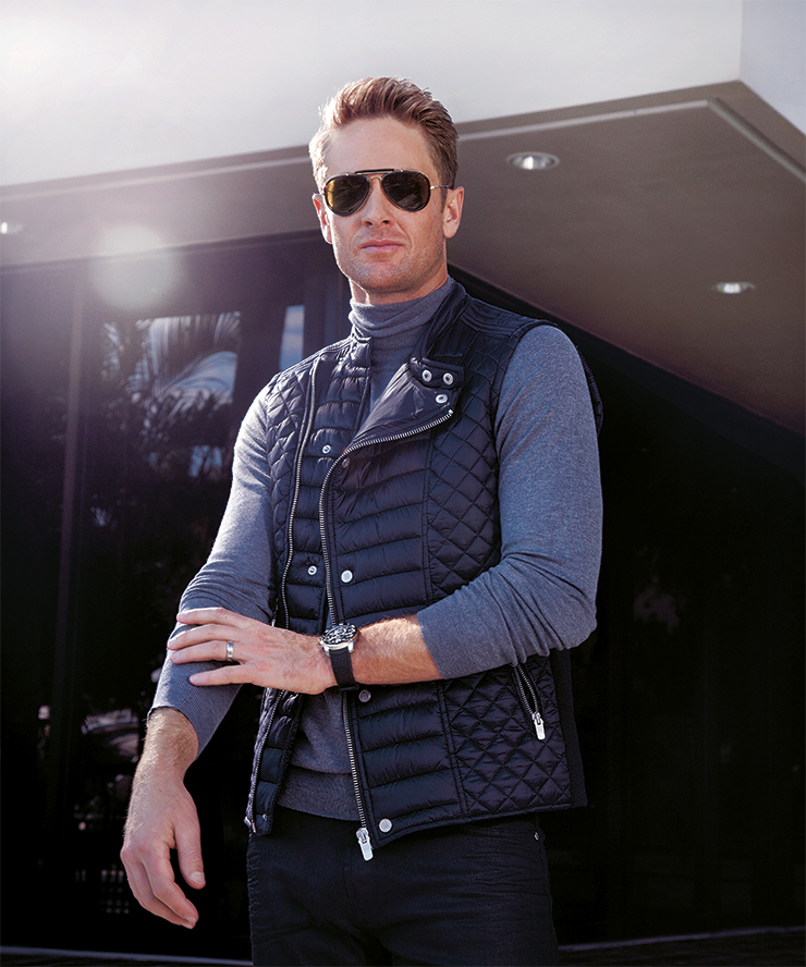Giorgio Armani sweater, Bal Harbour Shops; Zara vest, Miami Beach; Cartier watch, Weston Jewelers; Prada pants, Neiman Marcus at Aventura Mall; Gucci sunglasses, Bal Harbour Shops.