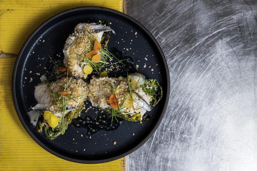 rivertail-chef-jose-Mendin-fort-lauderdale-christie-galeano-demott-felipe-cuevas-Grilled-little-gem-caesar-salad-boquerones.